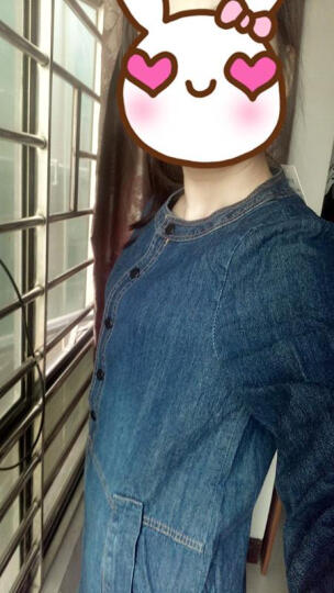 2018秋季新款大码女装连衣裙宽松休闲显瘦的牛仔连衣裙 蓝色 长袖款 M 晒单图