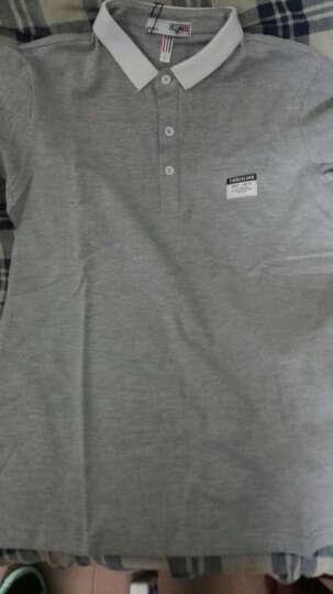 卡帝乐鳄鱼(CARTELO)T恤男2017新款男士休闲修身短袖T恤翻领polo衫 黑色. L 晒单图