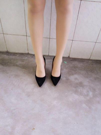 潮至 高跟鞋2017春季韩版超气质OL单鞋浅口尖头细跟高跟鞋百搭女鞋 墨绿色 38 晒单图