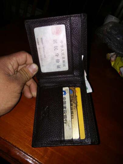 七匹狼 (SEPTWOLVES) 男士钱包短款 商务休闲男式两折牛皮皮夹 横款卡包3A0813161-01黑色 晒单图