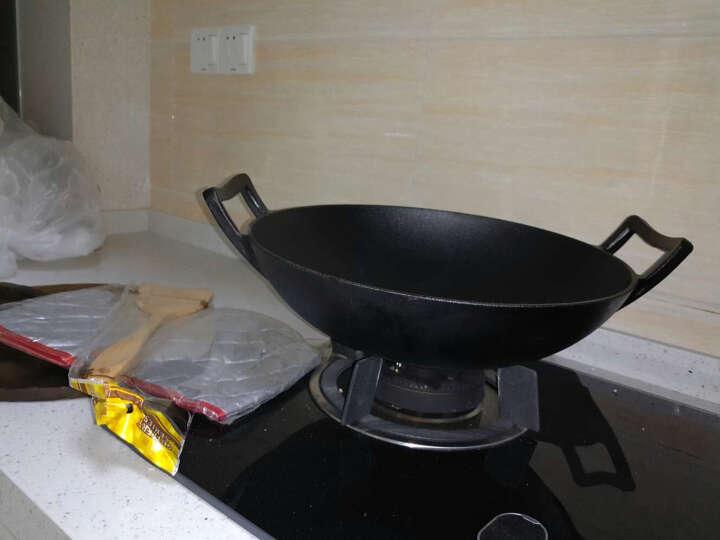 赤霄 炒锅铸铁 木质盖 中式双耳加厚铁 明火燃气煤气灶电磁炉通用 直径36cm 晒单图