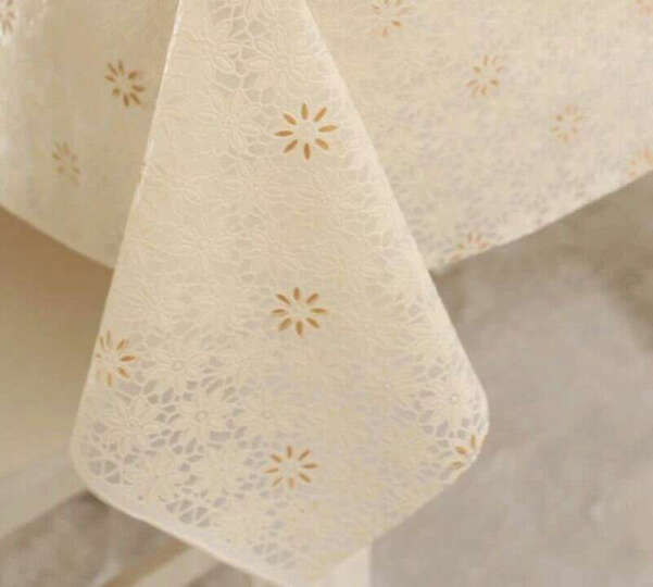 万迈(wanmai)欧式田园桌布防水免洗塑料布艺餐桌布台布防油桌垫茶几垫 010白粉 90*137CM 晒单图