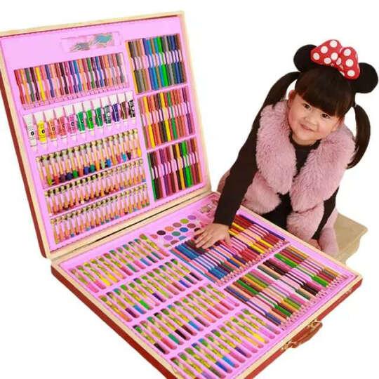 儿童画笔DIY卡通新公主儿童礼物绘画礼盒文具学生水彩笔儿童无毒绘画涂鸦彩色笔宝 339件木盒红色 晒单图
