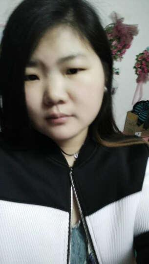 美特斯邦威开衫卫衣女情侣条纹立领撞色棒球服外套韩版学生224643 黑白组90 165/88A. 晒单图