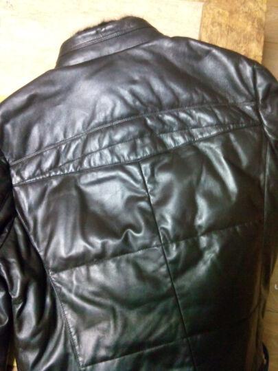 雪豹 男式皮衣 真皮羽绒服男羊皮海宁皮衣羽绒皮衣皮草男特价0034 黑色 170/92A(48) 晒单图
