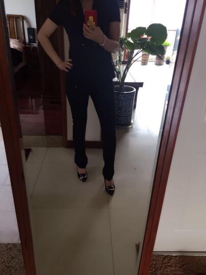 务杰 职业小西装女短袖 职业装女装套装夏2018新款小西服女修身显瘦通勤工服 黑色西装+西裙+西裤 L 晒单图