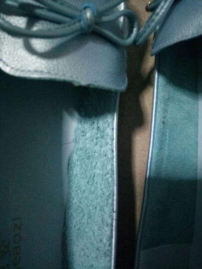 专柜款休闲鞋女夏款豆豆鞋头层牛皮平底单鞋 意大利专供款-浅蓝色 40 晒单图