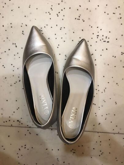 逸希单鞋女2018新品欧洲站尖头坡跟厚底粗跟鞋浅口高跟鞋大码工作鞋 银色 40 晒单图
