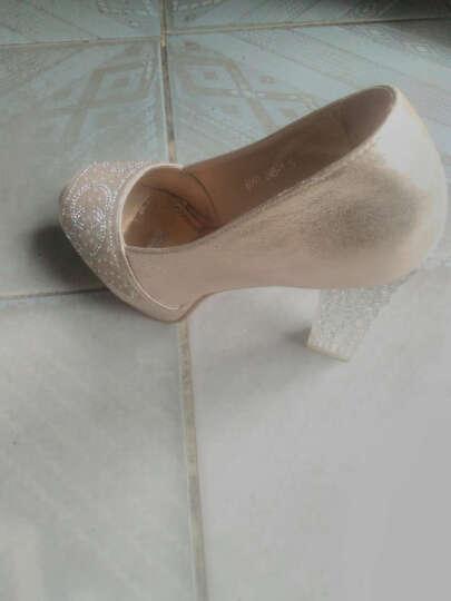 高跟鞋女鞋浅口单鞋细跟职业鞋2018春季新款韩版尖头鞋子皮鞋女公主鞋潮 蓝色ML8212 37 晒单图