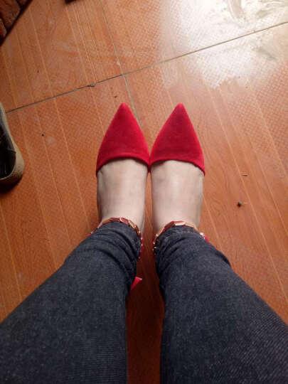 莱卡金顿高跟鞋女2017秋季新款时尚细跟性感高跟女靴气质通勤OL尖头女鞋 HL633K6红色 37 晒单图