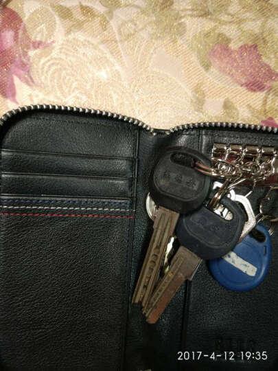 ELLE HOMME 钥匙包男商务男士车用锁匙包卡包拉链头层牛皮小包 蓝色10500111627504552 晒单图
