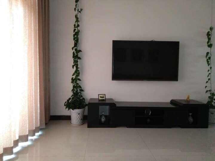 欣雅图 钢化玻璃黑色电视柜组合 小户型伸缩电视柜茶几组合套装 现代简约1183 木纹台面电视柜+1.3m茶几 (180-240)*45*45 晒单图
