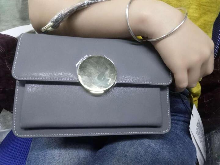 EUNI女包手提包链条金属搭扣单肩包羊皮纹斜跨包女士包包小方包 灰色E941001I1H 晒单图