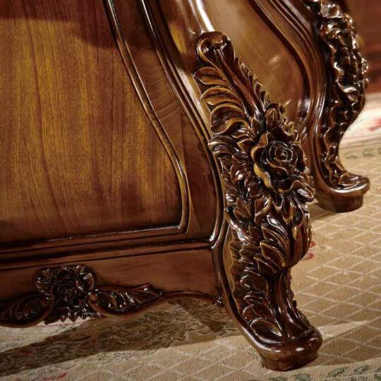 伦达家具欧式美式轻奢大理石实木雕花自动圆餐桌椅组合红樱桃木餐桌椅餐桌1桌6椅电动餐桌 柚木色 定做定金 晒单图