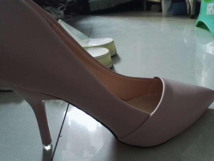 范思蒙 春夏季新款时尚甜美百搭高跟鞋女鞋 米白色 36 晒单图