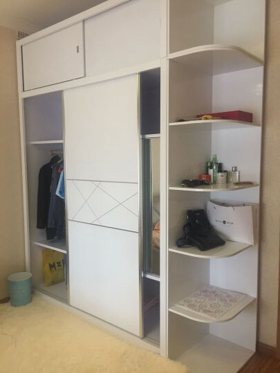 欧尚杰(oushangjie)衣柜 现代卧室双门推拉大衣橱 1.8米衣柜+转角柜+顶柜(送转角顶柜) 晒单图