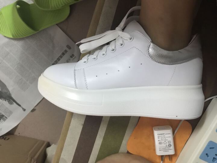 Tata/他她牛皮女休闲鞋小白鞋2CL79CM6 白/黑色 34 晒单图
