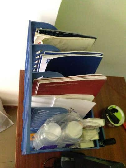 创易文件架 文件夹 文件框 加厚文件座  文件栏  办公用品 四栏带收纳盒CY6499蓝色 晒单图