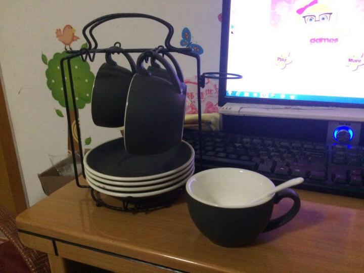 淘礼轩 咖啡杯套装陶瓷拉花杯下午茶具4杯4碟220ml A05亮光红 晒单图