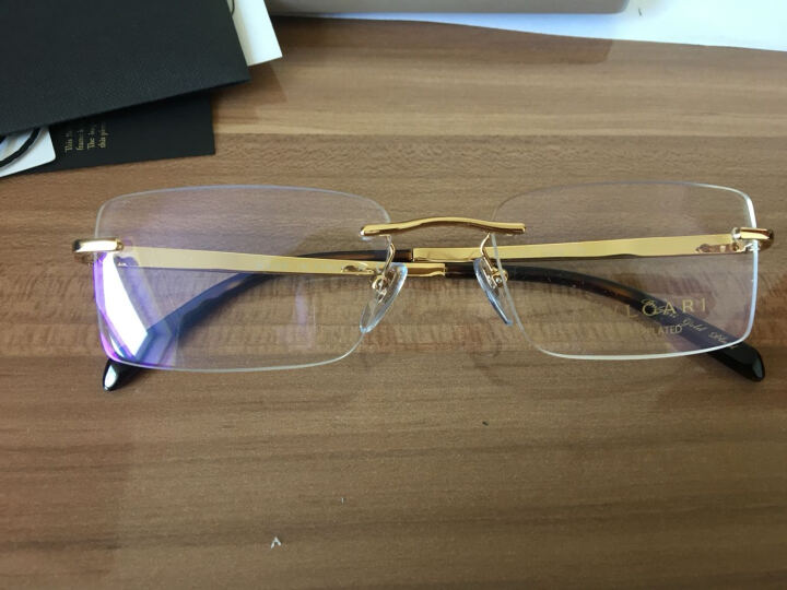 BVLGARI 宝格丽 男款金色无框镜架金色镜腿棕色LOGO光学眼镜架眼镜框 1058K 391  54mm 晒单图