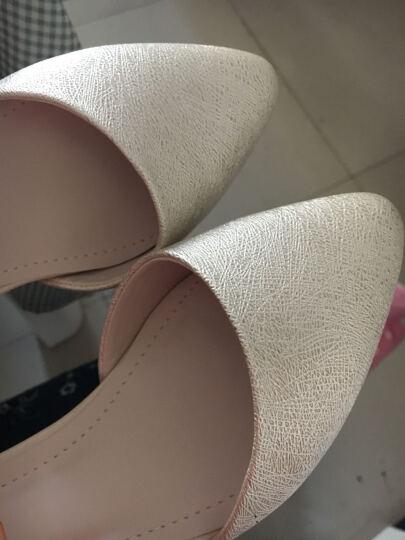 古奇天伦大码单鞋女中方跟2018春季新品包头水钻粗跟玛丽珍女鞋 8434米色 34 晒单图