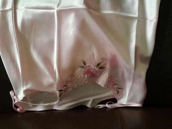 纤慕睡衣女夏短袖性感睡衣仿真丝吊带睡裙睡袍家居服两件套 粉(刺绣款) L(体重100-120斤 身高160-165) 晒单图