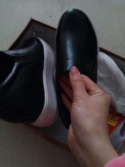 艾梵图女鞋真皮镂空透气休闲鞋套脚女士凉鞋隐形内增高平底乐福鞋 白色 38 晒单图