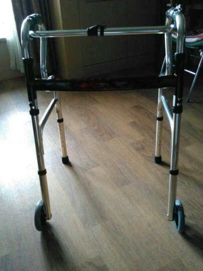 艾怡佳 铝合金助行器 加厚助步器 老人康复锻炼助力器 可折叠四脚拐杖 (0168)带轮款 晒单图