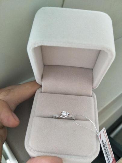 鸣钻国际 钻戒女 白18K金钻石戒指结婚求婚女戒 情侣钻石对戒女款 四爪豪华 9号指圈 晒单图