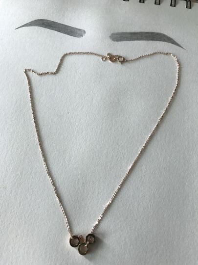 蝶尊18K彩金套链三环套链玫瑰圆环扣项链坠锁骨链女友款au750 18K玫瑰金套链(42cm+3cm)约2.2g 晒单图