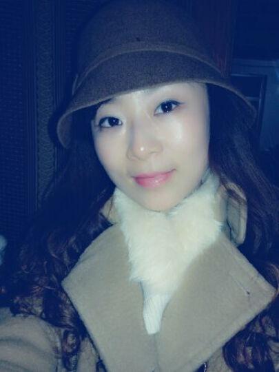 布塔帽子女秋冬季小礼帽羊毛呢帽冬天时装帽蝴蝶结帽子 深驼色 (56cm-58cm) 晒单图
