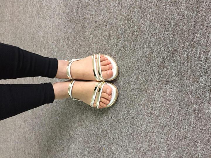 卓诗尼(Josiny)2018夏季新款平底凉鞋女休闲沙滩学生凉鞋一字扣带低跟女鞋 黑色 39 晒单图