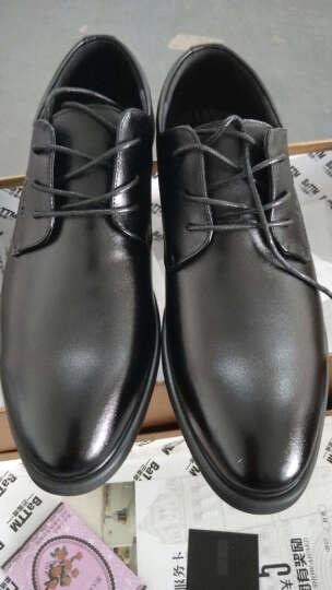巴图腾皮鞋男士商务正装鞋青年真皮透气黑色休闲男鞋大码4647内增高鞋小码36夏季新品 镂空经典款黑色B175601 42(260) 晒单图