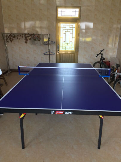DHS/红双喜乒乓球桌 家用可折叠标准室内乒乓球台 室外多款可选 健身运动器材 E-T233 带轮折叠 晒单图