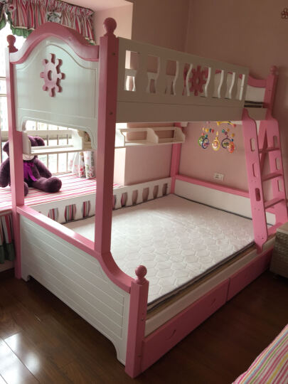 雅霏 实木床 儿童实木 床 实木高低子母床 青少年男孩女孩上下铺床 组合床双人床 梯柜款式现货(白+棕色实木) 上铺 1 .05米下铺1.35米 总长2.5米 晒单图