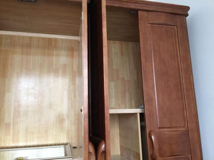 丽巢 家具 橡胶木实木 衣柜中式四门衣柜加顶柜底抽田园简约木衣橱818 胡桃色 四门衣柜 晒单图