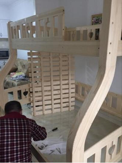 邦利达居 儿童床全实木高低床子母床上下床双层床卧室组合芬兰松木 梯柜+书架+抽屉 1500*1900 晒单图