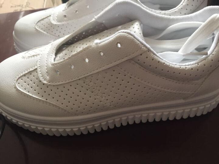 浪莎春夏季新款韩版内增高休闲鞋女系带运动鞋学生鞋透气小白鞋平底单鞋女 白绿色 36 晒单图
