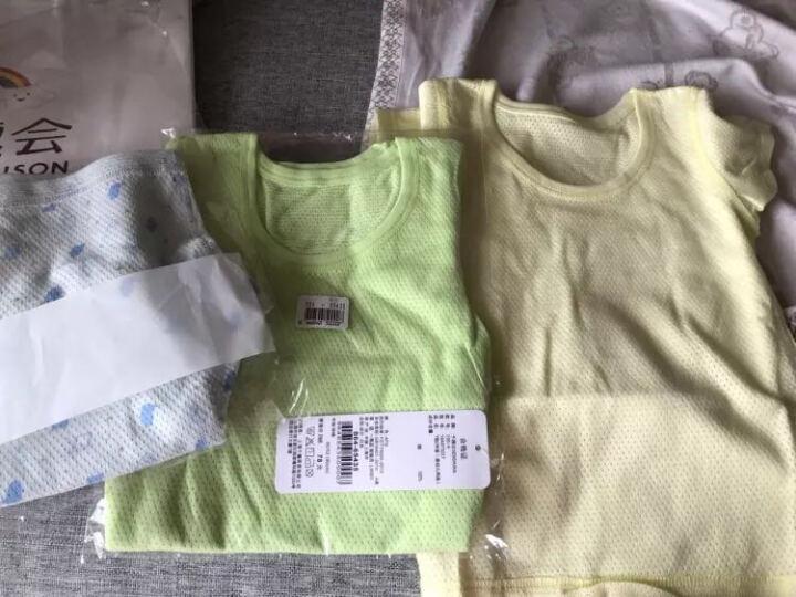 千趣会 BABY夏季婴幼儿内衣上衣 清爽短袖网眼T恤 实惠2件组 973227 浅灰蓝 80 晒单图