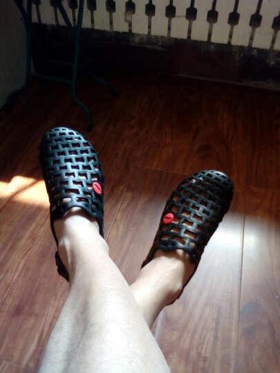 黑脚印夏季洞洞鞋男凉鞋透气休闲懒人鞋镂空男士防滑夏季沙滩鞋女情侣鞋 蓝色 42 晒单图