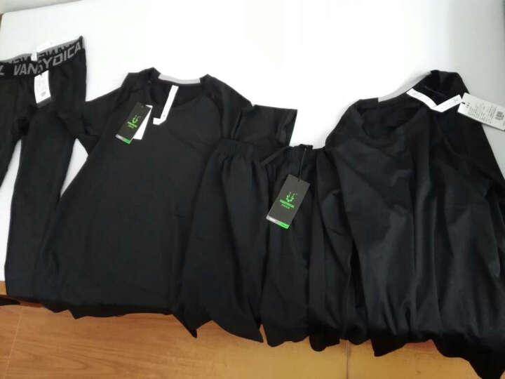 范斯蒂克健身服男士运动套装夏季短袖紧身衣弹力透气跑步篮球服套装健身房训练 黑色四件套 TC0624 M 晒单图