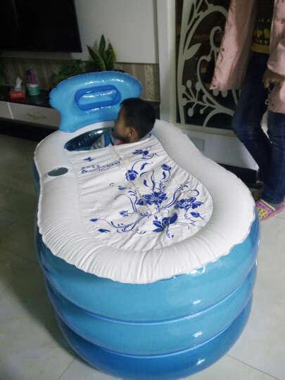 漫游宝宝成人免充气浴缸浴桶保温充气泡澡洗澡桶加厚 玫红标准号(省水版) 晒单图