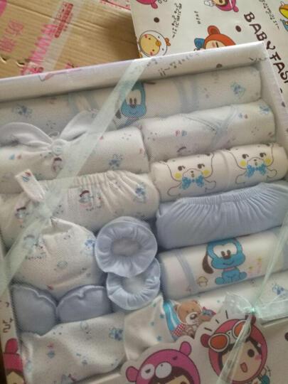 班杰威尔 婴儿礼盒婴儿衣服秋冬春夏套装纯棉新生儿宝宝内衣满月百天礼包 顽皮熊 成长款-蓝色 晒单图
