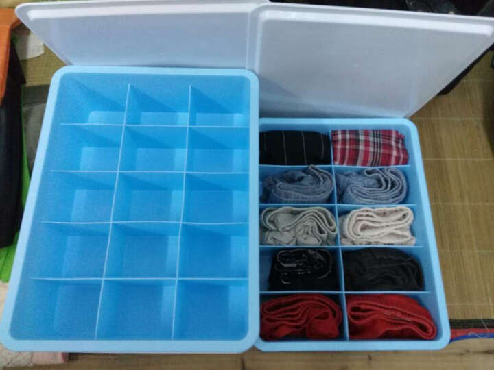 双飞蝶 收纳箱 内衣收纳盒塑料抽屉内裤袜子内衣盒整理盒可水洗三件套收纳用品 有盖 蓝色三件套三盖 晒单图