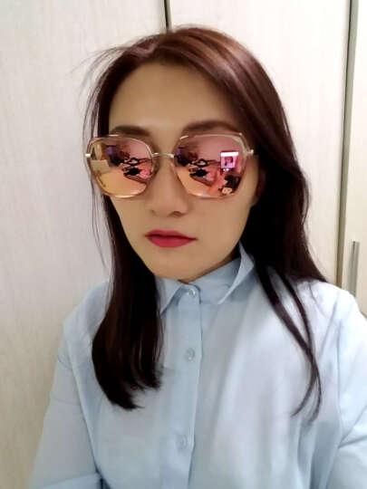 海伦凯勒太阳镜女偏光墨镜驾驶镜志玲广告款彩膜眼镜大框圆脸新品H8621 蜜桃粉框+香槟镀膜HD53 晒单图