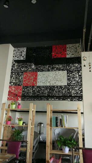 享泽家居 4个装现代简约雕花墙贴纸客厅卧室餐厅镂空挂式隔断屏风创意墙贴画电视背景墙 黑色 4个装 晒单图