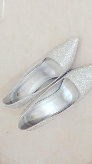 帛屐高跟鞋女尖头浅口单鞋细跟高跟婚礼伴娘鞋潮OL工作鞋 银色 37 晒单图