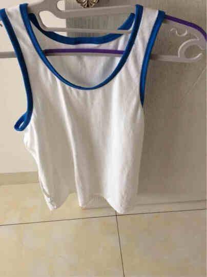 螃蟹秘密男士背心有机棉质修身型背心紧身运动健身打底背心男夏季家居服 有机白蓝边 L 晒单图