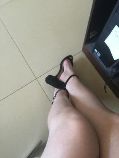 夏季欧美简约交叉绑带粗跟凉鞋女流苏后空中跟露趾罗马高跟鞋大码女鞋子40-41-42小码鞋 黑色5.5厘米 35 晒单图