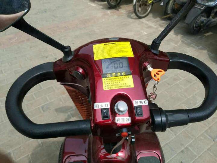 Qiangjinli强劲力双座老年人四轮代步车电动双人电瓶车残疾人助力车可折叠老人接送观光车智能刹 P412三座自动刹车+锂电池48V 30AH 晒单图